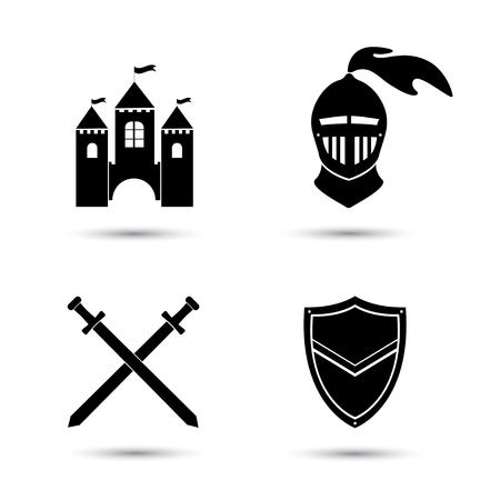 rycerz: Średniowieczne czarne ikony ustaw odizolowane na białym tle. Stary zamek. Tarcza i miecz rycerza