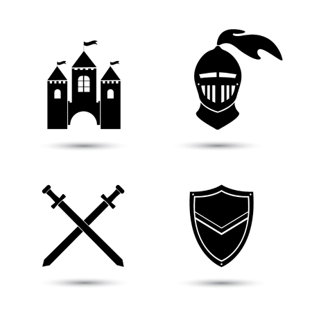 Medieval black icons set isolated  on white. Old castle. Knight shield and sword Ilustração
