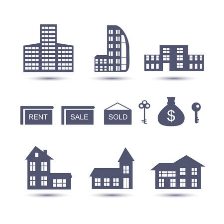 mortage: Real Estate vector icons set isolated on white.