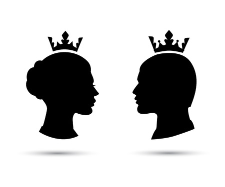 crowns: king and queen heads, king and queen face, black silhouette of king and queen. Royal family. Vector icons isolated on white Illustration