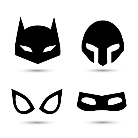 Super hero flat icons set. Vector illustration isolated on white. Black silhouette Illustration