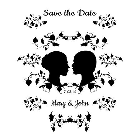 visage femme profil: Save the Date Carte d'invitation Vintage Design élégant en beauté. Vector Illustration. Noir profil silhouette de l'homme et la femme isolé sur fond blanc