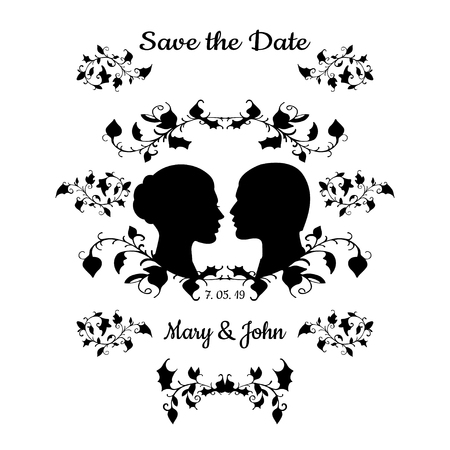 woman art: Save the Date Invitation Card Vintage Design with Elegant flourish. Vector Illustration. Black profile silhouette of Man and Woman isolated on white background