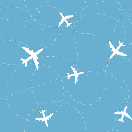 Travel around the world concept. Airplane seamless pattern, background, vector seamless texture can be used for wallpaper, pattern fills, web page,background,surface.