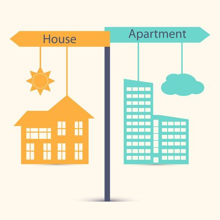 owner money: Guestion of choice between  house and apartment, village and town. Business concept in flat design.  House symdol vector illustration