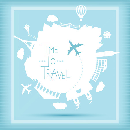 plane cartoon: Time to travel vector illustration. Famouse places. Around the world travelling by plane, airplane trip in various country.  Flat icon modern design style poster. Travel banner. Illustration