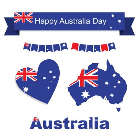 enero: los patrones de la bandera, la bandera y el icono del corazón Australia establece la ilustración. Happy Australia día 26 de enero. Ilustración del vector