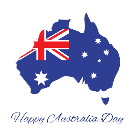 26 january: Australia map for Australia Day. 26 january Happy Australia Day. Vector Illustration Illustration