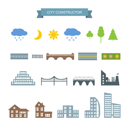 game design: Landscape constructor icons set. Buildings houses, bridges, sun, moon, trees and architecture signs for map, game, texture. Design vector element isolated on white. road elements, city elements, weather icons Illustration