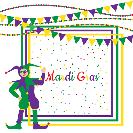 idiot box: Mardi Gras Party colorful frame with cartoon harlequin and festival flags.
