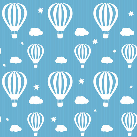 Illustration with white hot air balloons on the blue sky. Seamless pattern.