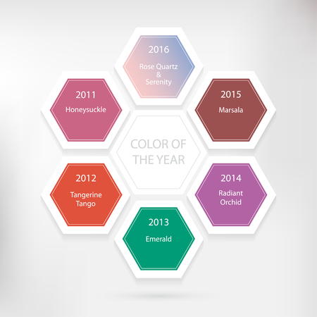 honeysuckle: Color of the year concept. Infographic design with hexagon on the grey background. Illustration