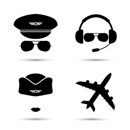 Stewardess, pilot, airplane silhouette. Black icons of aviator cap, stewardess hat and jet. Aviation profession. Flight attendant. Vettoriali