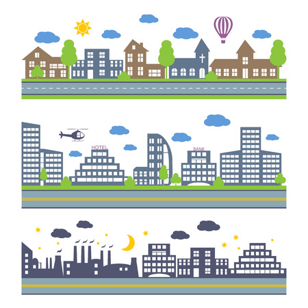 constructor: City Skylines. Landscape constructor icons set. Elements of town isolated on white. Road elements, city elements, weather and trees icons Illustration