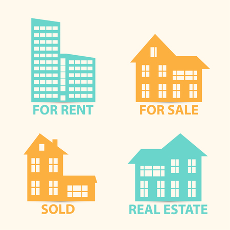 management concept: Real Estate vector colorful icons set isolated on white. Hoses icons for sale and for rent