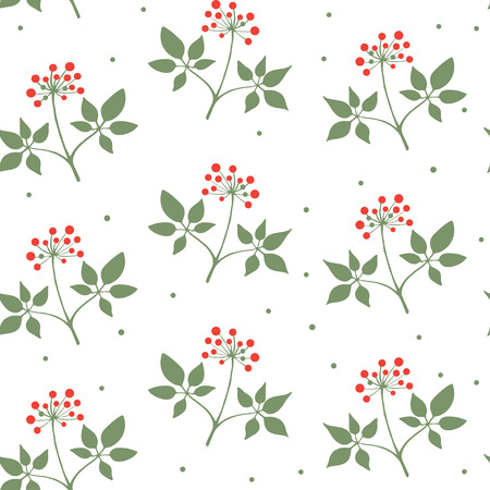Seamless pattern branches of ginseng. Floral background. Vector illustration