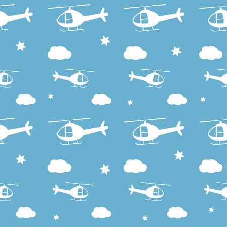 spotter: Helicopters vector seamless pattern. Baby boy background