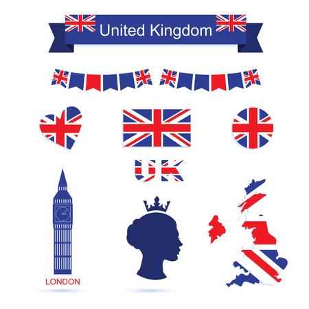 big sign: United Kingdom symbols. UK flag and map icons set. Big ben icon. Queen icon Illustration