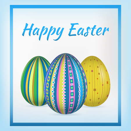 flier: Happy Easter card. Vector illustration for greeting card, ad, poster, flier, blog article Illustration