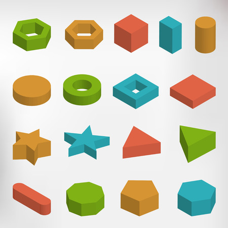 icosahedron: Colorful set of geometric shapes, platonic solids, vector illustration