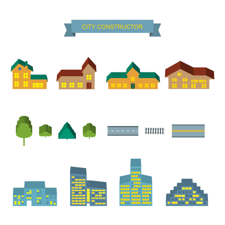landscape architecture: Landscape constructor 3d icons set. Buildings houses, trees and architecture signs for map, game, texture. Design element isolated on white. Road elements, city elements Illustration