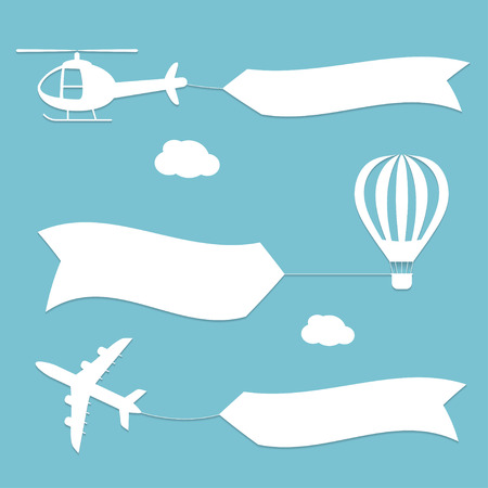 Plane, air balloon and helicopter flying with advertising . Planes set . white silhouettes. Flat modern design