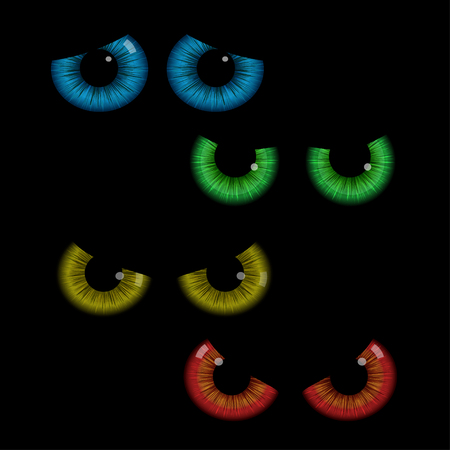 red eyes: Set of colorful eye balls. Green eye balls. Blue eyes. Red eyes. Yellow eyes.illustration isolated on black background