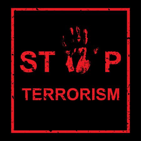 iraq war: handprint on black background with inscription Stop terrorism sing