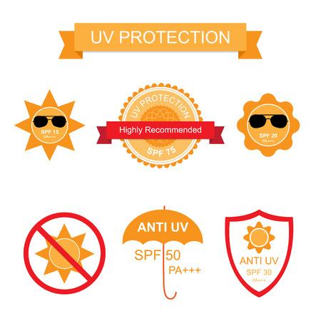 protección: Conjunto de UV de protección solar contra los rayos UV y los iconos. ilustración aislado en blanco Vectores