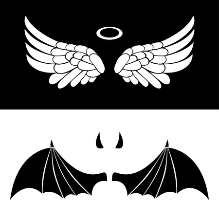 天使と悪魔のアイコン。天使と白と黒の背景に分離された悪魔の翼。