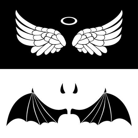 천사와 악마 아이콘입니다. 천사와 악마 흰색과 검은 색 배경에 고립의 날개.