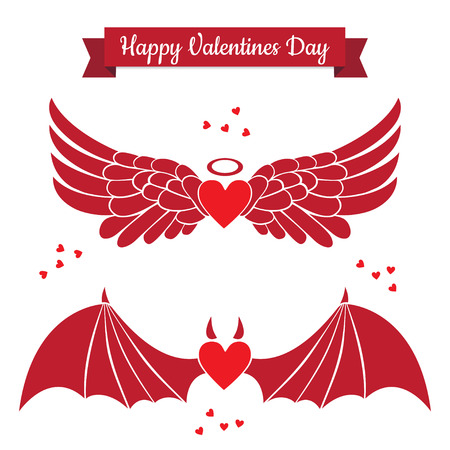 teufel und engel: Set Valentinstag flache Ikonen. Engel und Teufel Herzen Symbole. Engel und Dämon Flügel auf weißem Hintergrund. Illustration