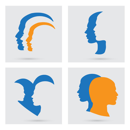 interpersonal: Man and woman icons set. portraits silhouette of a couple. Flat graphic style. Relationship between man and woman. Concept illustration, art, design