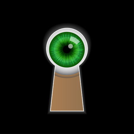 green eye: Cartoon green eye peeping through the keyhole. Vector illustration on black background Illustration