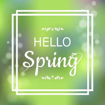 cuadrados: diseño de la tarjeta verde Hola primavera con un fondo abstracto con textura y el texto en marco cuadrado, ilustración vectorial. Letras elemento de diseño