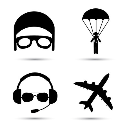 airplane wing: Skydiver on parachute, pilot, airplane silhouette. Black icons of aviator cap, parachutist and jet. Aviation profession. Vector illustration. Isolated on white Illustration