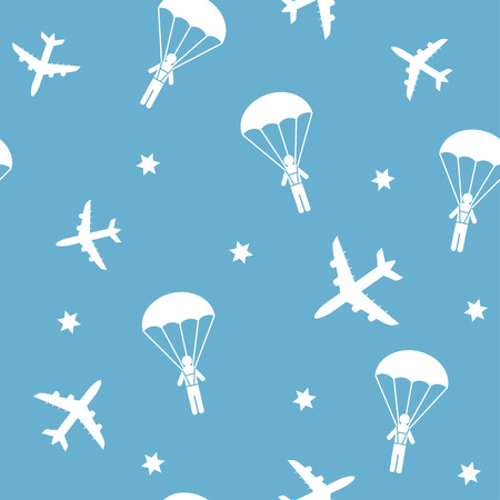 parachutists: Cartoon airplanes and parachutists. Airplane seamless pattern, background, vector seamless texture can be used for wallpaper, pattern fills, web page,background,surface. Illustration