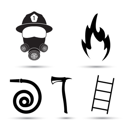 fire fighter: Fire fighter equipment icons set isolated on white background. Black silhouette of fire fighter, hydrant, axe and ladder