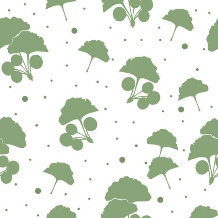 japanise: Seamless pattern branches and leaves of ginkgo biloba. Floral background. Vector illustration