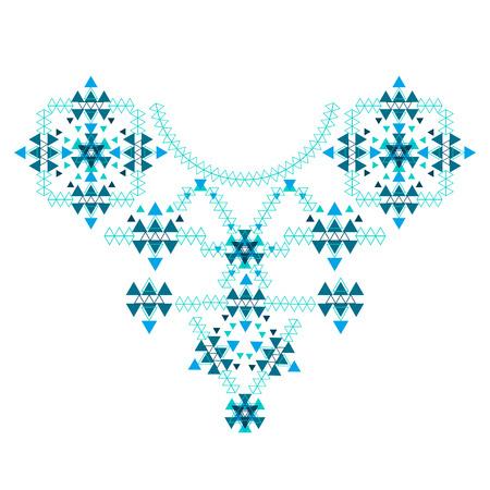 Etnische Kleurrijke Hals borduurwerk die op wit in vector-formaat