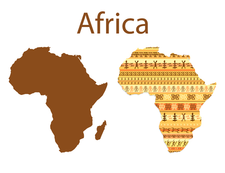 アフリカの地図。ストリップとカラフルな民族アフリカ マップ パターン設計。ベクトル図