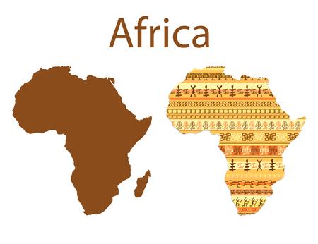 Mapa de África. diseño africano étnico colorido patrón mapa con las tiras. ilustración vectorial Vectores