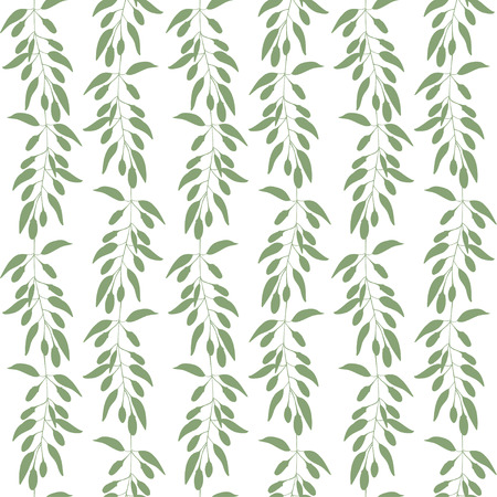 Seamless pattern branches and leaves of Goji berries . Floral background. Vector illustration. Green silhouette Иллюстрация