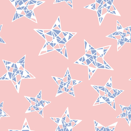 quartz: Seamless stars pattern. Hand drawn abstract background in vector format. Colorful childish pattern. Rose Quartz and Serenity colors