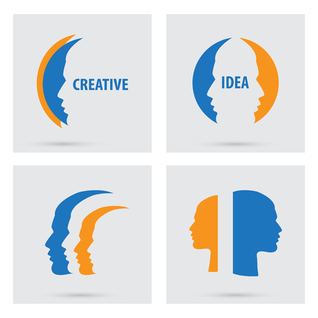 Man profile silhouette icons set isolated. Vector portraits of people. Flat graphic style. Concept illustration creative idea,  logo design