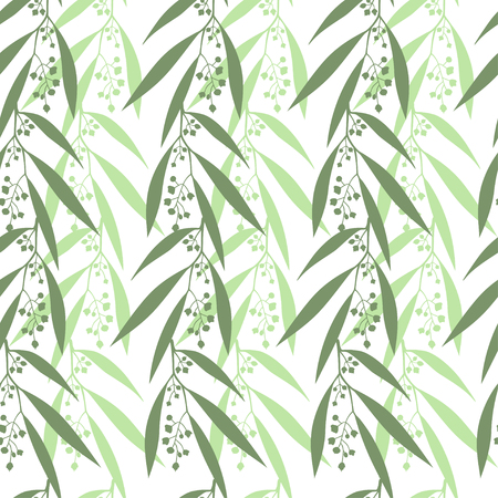 Seamless pattern branches of eucalyptus. Vector illustration. Green floral background