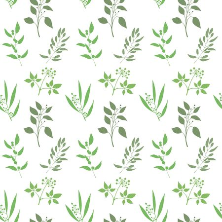 twigs: Seamless plant background. Endless pattern with green twigs and leaves silhouette. Vector illustration on white background