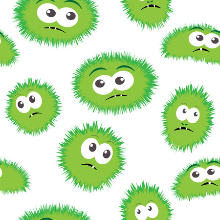 bacteria cartoon: Seamless pattern bacteria with monster face. Vector background with cartoon funny germs, green bacteria, cute monsters