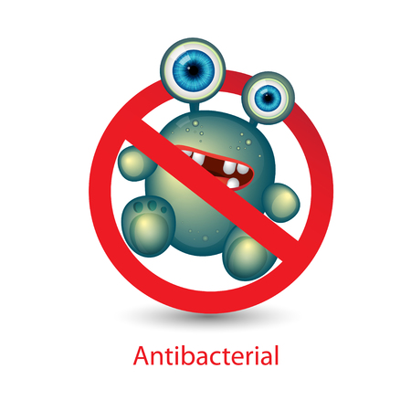 Antibacterial sign with a funny green cartoon bacteria. Isolated vector illustration. Bacteria kill symbol