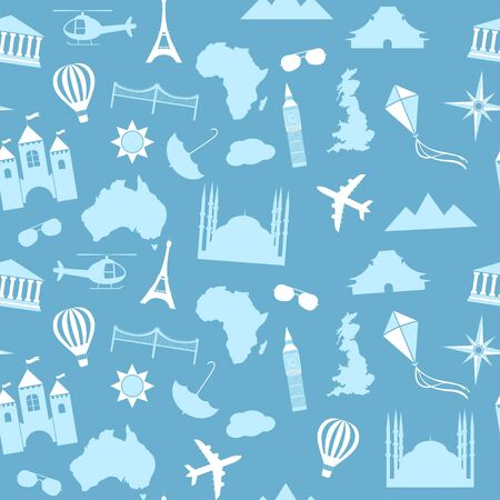 famous places: Seamless vector pattern background travel, vacation, famous places